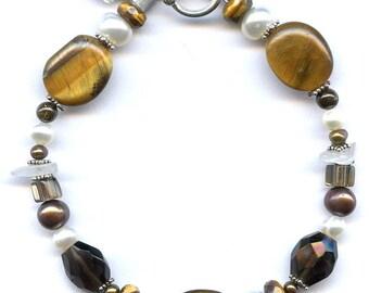Tiger Eye And Multi Gem Sterling Silver Bracelet FD180D