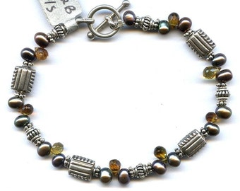 Tourmaline And Pearl Sterling Silver Bracelet FD82B