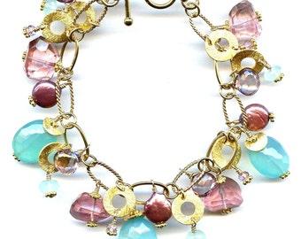 Pink Topaz And Peruvian Chalcedony Bracelet FD538B