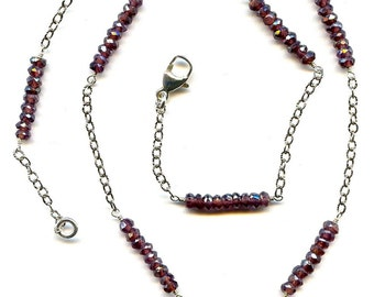 Garnet Silver Ohm Charm Necklace FD590