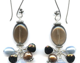 Smoky Quartz And Multi Gem Silver Earrings FD604B