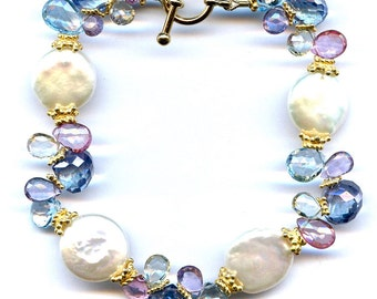 Pearl And Multi Gem Bracelet FD584D