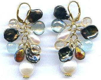 Keshi Pearl And Multi Gem Earrings FD456C
