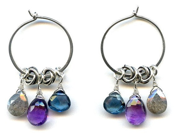 Amethyst And Multi Gem Silver Earrings FD594C