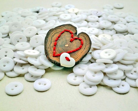Brooch of Wood, Heart Button and Embroidery: Pierced Heart Brooch