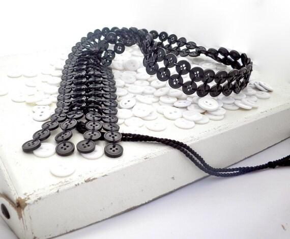 Black Button Corset Necklace