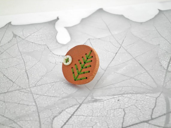 Wood Green Leaf Button Ring: Conifer Seedpod Ring