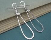 Long Teardrop Loop Sterling Silver Earrings, Teardrop Earrings,  Hoop Earrings Spirals, Wife, Teen Girl, Women, Wire Jewelry