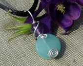 Green Aventurine and Amethyst Stone Pendant Necklace - Sterling Silver Wire Wrapped Swirl - Jewelry Gift