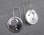 Question Mark Earrings - Sterling Silver, Geekery, Jewelry, Nerd Jewelry, Geekery, Women
