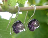 Long Stem Amethyst Purple Glass Flower Earrings - Jewelry, Mother's Day Gift , Women, Jewellery, Earring, Czech Glass, Spring