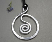 Big Spiral in a Circle Pendant Necklace - Aluminum Jewelry - Hammered Metal Wire, Bold, Handmade, Unisex