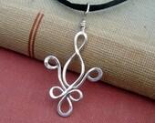 Fleur De Lis Sterling Silver Pendant Necklace - Mardi Gras - New Orleans - Quebec -  Silver Wire Jewelry