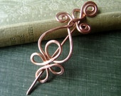 Celtic Loops and Spirals Copper Shawl Pin, Hair Pin, Sweater Clip,  Brooch, Fastener, Closure, Celtic Knot Accessory,Jewelry, Accessories