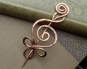 Celtic Budding Spiral Copper Shawl Pin, Scarf Pin, Sweater Brooch, Fastener, Closure, Hair Pin Celtic Metal Knitting Accessories, Women