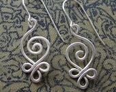 Celtic Sterling Silver Wire Earrings - Budding Spiral Swirl Earring - Celtic Jewelry - Hammered Celtic Earrings, Women, Handmade Gift