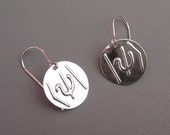 Wave Function Symbol Sterling Silver Stamped Earrings - Geek Science Jewelry- Dirac Notation-Physics Jewelry, Gift for Scientist, Teacher