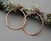 Big Copper Hoop Earrings, Basic Bold Hoops, Hammered, Simple, Classic, Circle, Jewellery, Women, Earring
