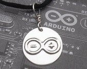 Arduino Logo Pendant, Totally Geeky Nerd Necklace, Geekery. Electronics, Computers, Science Jewelry, Teacher Gift, Scientist