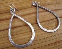 Infinity Teardrop Big Earrings, Bold Long Earrings, Hoop Earrings - Hammered Light Weight Hoops Aluminum Jewelry Wire, Women