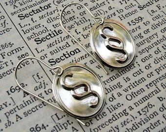 Section Sign Earrings - Sterling Silver Nerd Jewelry - SquigglyTypography Punctuation Geeky Teacher Gift