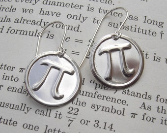 Sterling Silver Pi Earrings - Geek Math Jewelry - Math Teacher Gift -  Pi Jewelry - Geekery, Teacher Appreciation