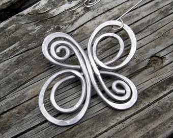 Celtic Knot Infinite Swirl Cross Ornament - Celtic Cross Aluminum Wire Christmas Ornament - Holiday Ornament, Christmas Tree Ornament