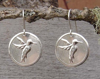Sterling Silver Hummingbird Earrings, Hummingbird Jewelry  Bird Earrings, Christmas Gift for Her Light Weight Stamped Metal, Women Nature