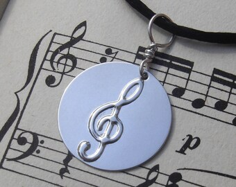 Treble Clef Pendant Necklace, G Clef Necklace Music Jewelry, Musician Gift, Sterling Silver Stamped, Unisex Charm, Graduation Gift