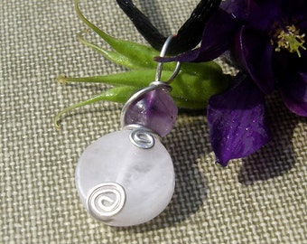 Rose Quartz Pendant With Amethyst, Rose Quartz Necklace, Sterling Silver Stone Pendant, Pink, Stone Jewelry Wire Wrapped, Women, Girls Gift