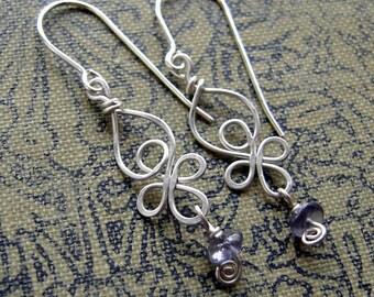 Little Celtic Knot Sterling Silver and Iolite Earrings - Celtic Jewelry - Dangle Silver Wire Earrings - Women Celtic Earrings