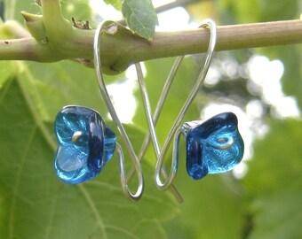 Blue Glass Flower Earrings, Long Stem Aqua Teal, Mother's Day Gift for Her, Czech Glass Beads, Flower Jewelry, Women, Girls