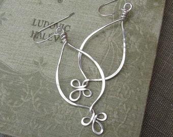 Fancy Loops Long Teardrop Earrings - Sterling Silver Dangle Earrings - Silver Wire Earrings, Silver Wire Jewelry, Women, Jewellery