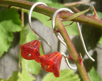 Long Stem Berry Red Glass Flower Earrings, Sterling Silver Wire Czech Glass Jewellery, Spring Flower Jewelry, Red Flower Earrings Women Teen
