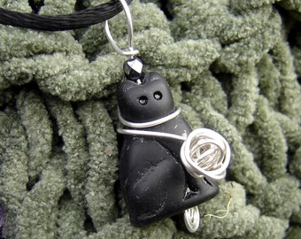 Black Cat With Ball of Yarn Pendant - Kitty Sterling Silver Wire Necklace - Knitting Jewelry - Cat Jewelry, Cat Lover, Women