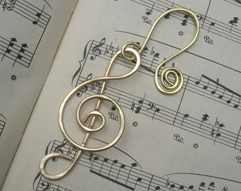 Treble Clef Brass Music Ornament - Music Note Christmas Ornament, G Clef, Musician Gift, Home Decor Holiday Ornament, Decoration