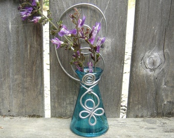 Teal Hanging Wall Vase, flower vase, plant rooter vessel, home decor housewarming gift, garden patio, outdoors, bud vase kitchen decoration
