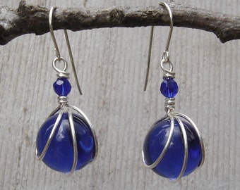 Cobalt Blue Glass Marble Earrings, Sterling Silver Wire Wrapped Jewelry, Women Christmas Gift, Marble Jewelry, Dangle and Drop