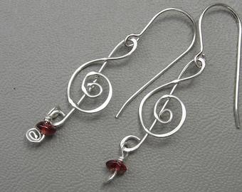 Treble Clef Earrings Silver with Garnet, Music Jewelry, Musician, G Clef Music Earrings, Music Note Earrings, Women Choir Music Teacher Gift