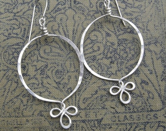 Sterling Silver Hoop Earrings, Fancy Loop Silver Wire Jewelry, Dangle Earrings, Women, Silver Hoops, Sterling Silver Earrings, Jewellery