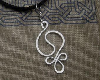 Yin Yang Harmony Sterling Silver Pendant Necklace, Hammered Wire Silver Necklace, Yin Yang Jewelry, Yinyang Gift for Women