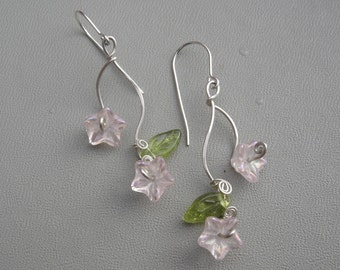 Pink Flowers and Tendrils Double Vines Glass Earrings - Glass Flower Earrings - Dangle Earrings - Czech Glass Beads - Flower Jewelry
