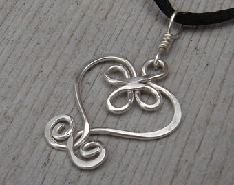 Celtic Heart Sterling Silver Wire Pendant, Mother's Day Gift  for Her Celtic Necklace, Jewelry, Heart Necklace, Women, Wife, Teen Girl
