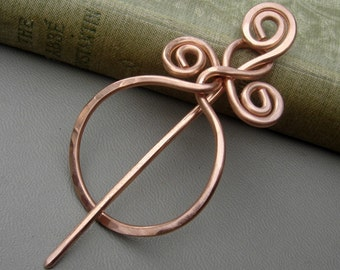 Circle With A Twist Copper Shawl Pin, Scarf Pin, Sweater Brooch, Sweater Closure, Shrug Fastener, Gifts for Knitters Knitting Accessories