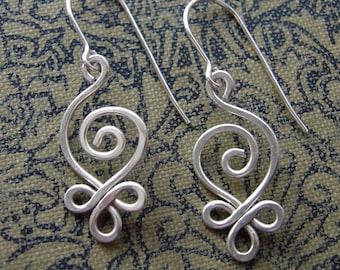 Celtic Sterling Silver Wire Earrings, Budding Spiral Earrings, Gift for Wife Celtic Jewelry, Celtic Earrings, Women, Everyday Earrings
