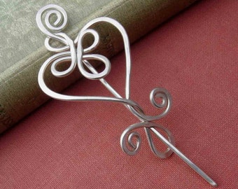 Celtic Heart Sterling Silver Shawl Pin, Knitters Gift for Her Silver Scarf Pin, Sweater Clip Heart Brooch, Sweater Closure Heart Pin, Women