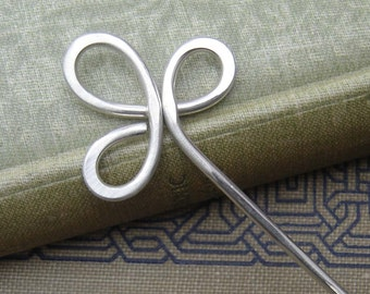 Trinity Clover Loops Sterling Silver Hair Stick, Shawl Pin, Scarf Pin, Bun Holder, Hair Pin, Long Hair Accessories, Women, Knitting