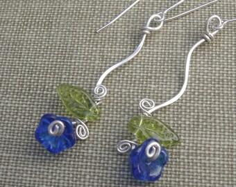 Long Blue Glass Flower Earrings - Swinging Vine Dangle Earrings - Czech Glass, Sterling Silver Wire, Women, Flower Jewelry