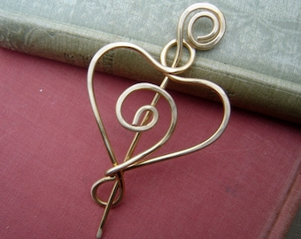 Brass Spiral Love Heart Shawl Pin, Scarf Pin, Sweater Clip Brooch, Closure, Fastener, Wife, Mother, Women Knitting Jewelry Accessories