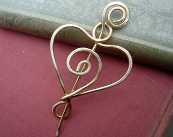 Brass Spiral Love Heart Shawl Pin, Mother's Day Scarf Pin, Sweater Clip Brooch, Closure, Fastener, Wife, Women Knitting Jewelry Accessories